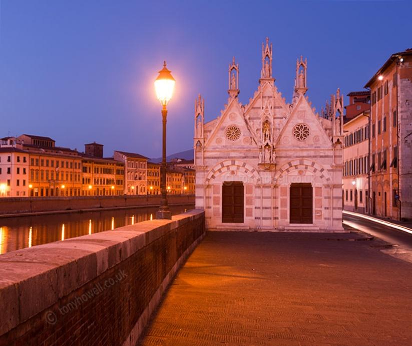Santa Maria della Spina Church, Dusk,  Pisa, Tuscany, Italy